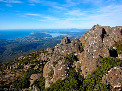 View of D'Entrecasteaux Channel from the top of Mt Wellington