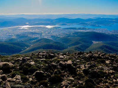 View of greater Hobart from the top of Mt Wellington