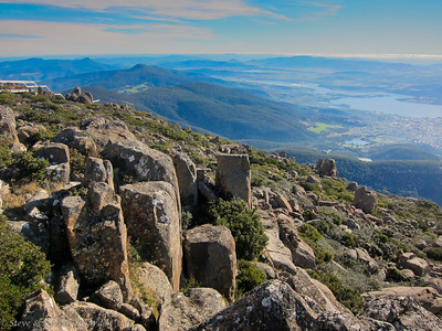 View of northern Hobart from the top of Mt Wellington