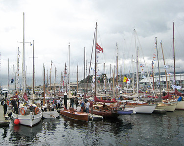 Classic power and sail boats were on display.