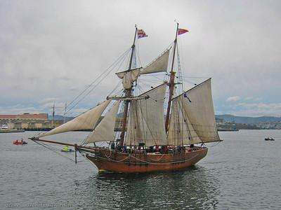 Tall Ship ENTERPRISE arriving for the Wooden Boat Festival