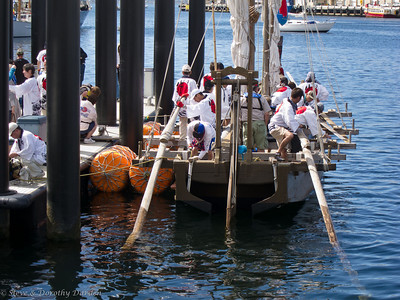Traditional Japanese fishing boat preparing to set sail