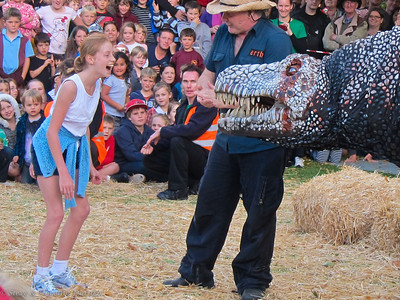One little girl volunteered to help train T-Rex.