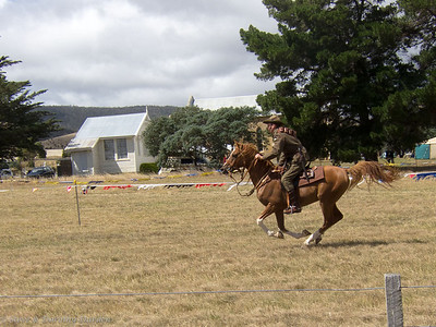 The horseman performed numerous practice exercises.