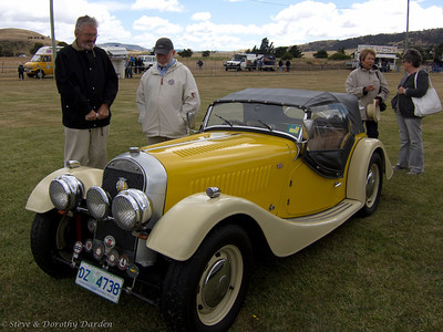 Adrian, Steve, Josephine and a Yellow Morgan