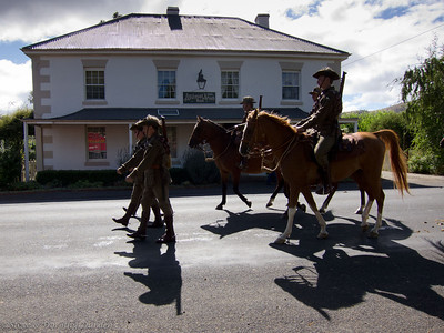 Australian Light Horsemen parading past the Wilmot Arms