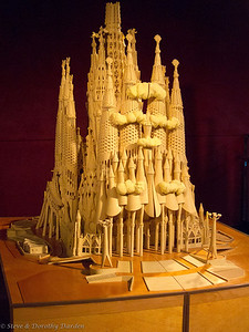 Model of the Gaudi Temple Sagrada Famalia showing how it will look upon completion.
