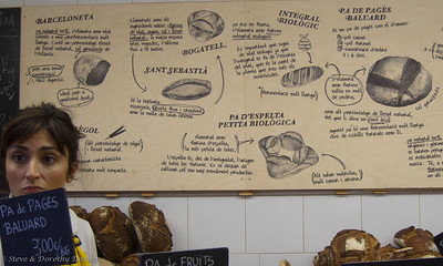 The board on the back wall of Baluard bakery tells you how to use the bread that they sell.
