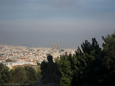 View from the top of Montjuic, including Le Sagrada Familia