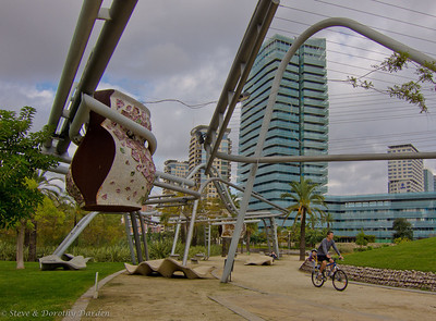 """Cycling northeast up the beach, we found ourselves in """"new Barcelona"""", near Port Forum, where the Diagonal meets the sea. Vast areas of highrises and empty plazas."""