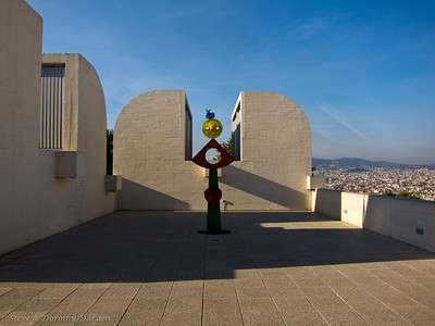 Miro sculptures on the roof of the museum