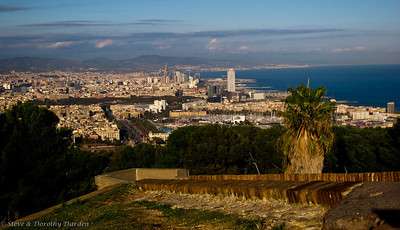 Cable car up to Montjuic