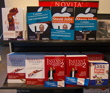 Books for sale at the rest stop: Steve Jobs and English language