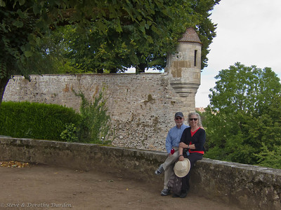 Steve and Dorothy at the Gaujard tower in Avallon