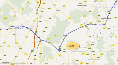 Beze - local area road map.