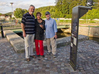 Adrian, Josephine and Steve at the Canal and lock on the Yonne River in Clamecy