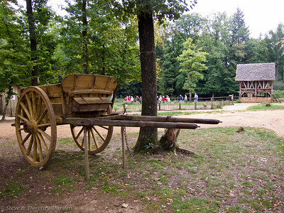 Traditional carts were being used to transport people and materials