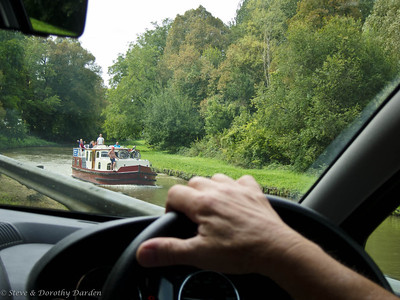View of a barge canal from our car