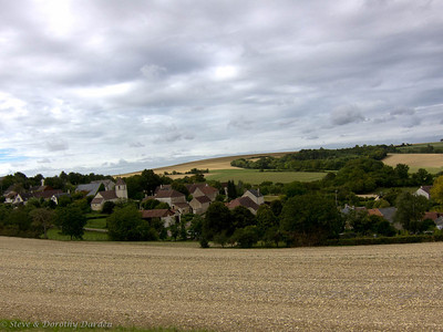 French farming countryside and village in autumn