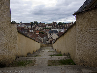 Steps down from the church to the village of Chatillon-Sur-Seine