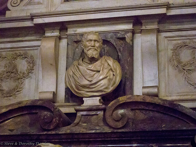 Bust of Michelangelo above his tomb.