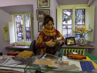 Francesca Gori, daughter of the founder of the school,  has created a line of hand-stitched one-of-a-kind handbags.