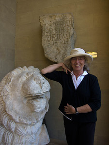 I was careful to not touch the stone lion.  Behind me are Etruscan letters carved into stone.