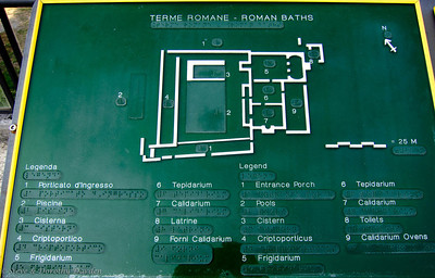 This is a plan of the Roman baths, showing rooms where bathers soaked in cold water, then tepid water then in warm or hot water.