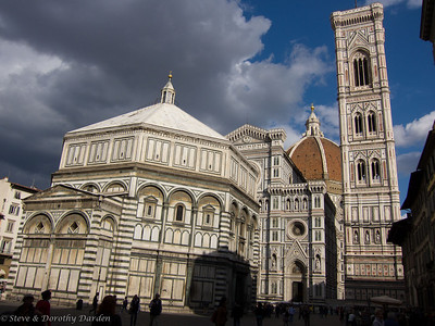 From left to right, the Baptistry, the facade of the Duomo, Brunelleschi's dome and Giotto's campanile
