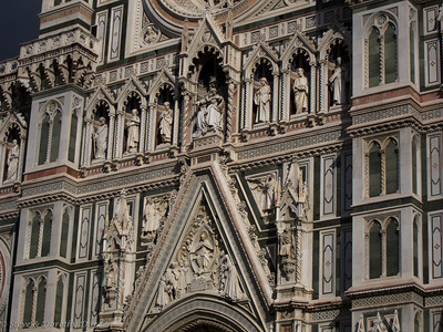 The facade of the Duomo is constructed of white marble from Carrara and green and pink Italian marble.