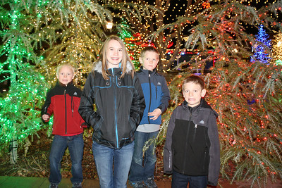 We went out to the Riverwoods with the Morrill family to go to dinner, see the lights, go on a carriage ride and see Santa.