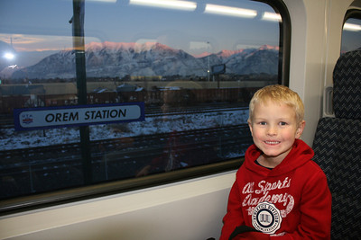 We made a mad dash to board the new Frontrunner for our annual trip to see the lights on Temple Square.  We jumped on and the doors closed! :)  Chase thought the ride up was great!  Much more fun then sitting in a carseat in our car!