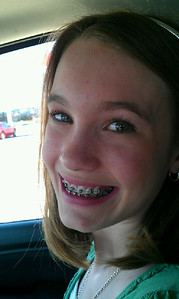 Braces on!  Beginning of two years of mouth pain! ;)