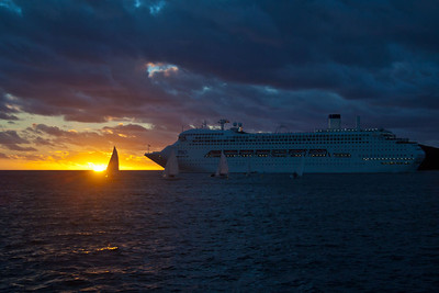 P&O cruise ship departs at sunset