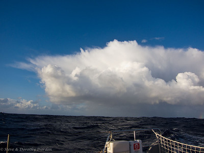 The seas and the clouds were building.