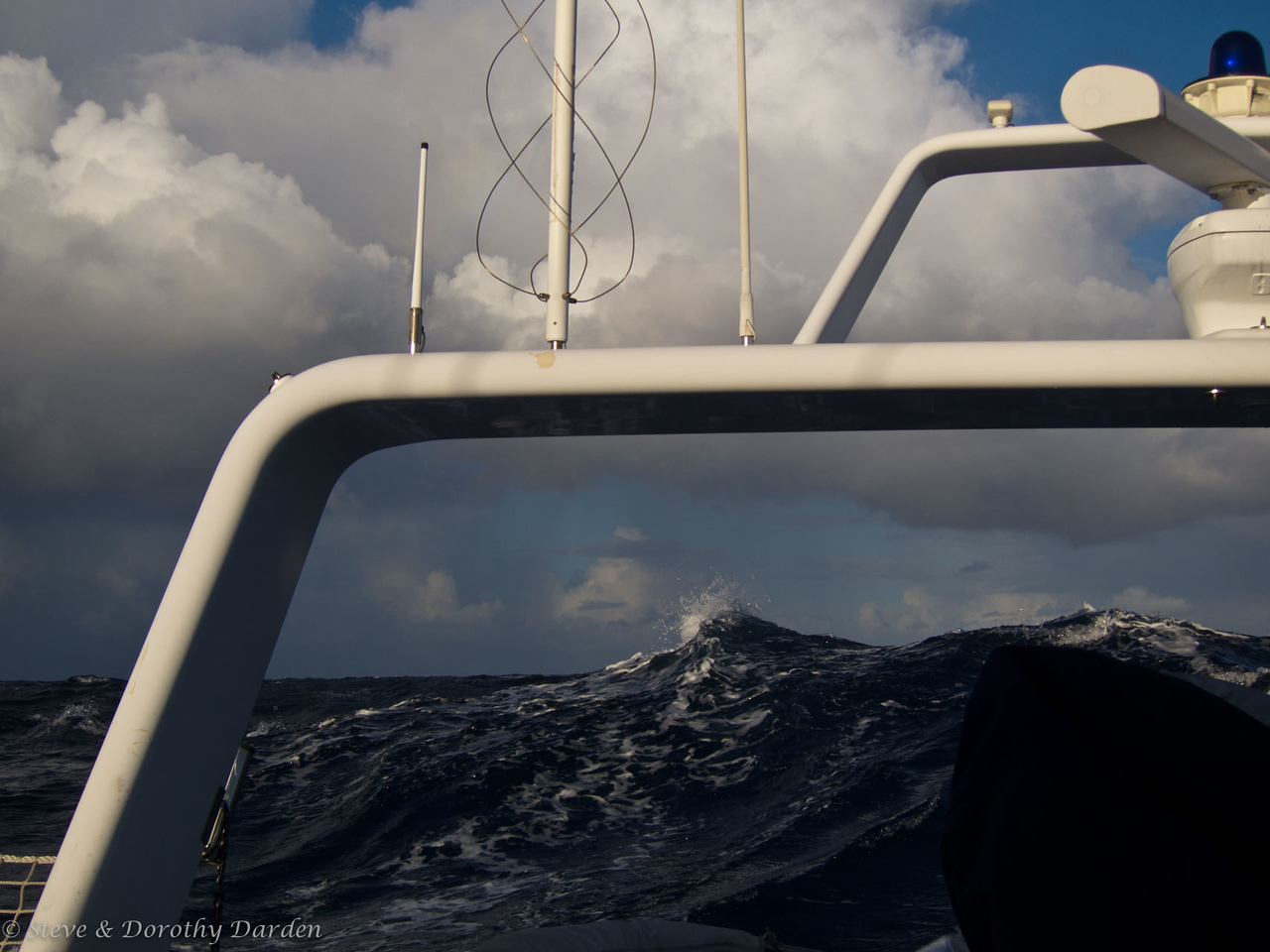 Stormy seas off our starboard quarter