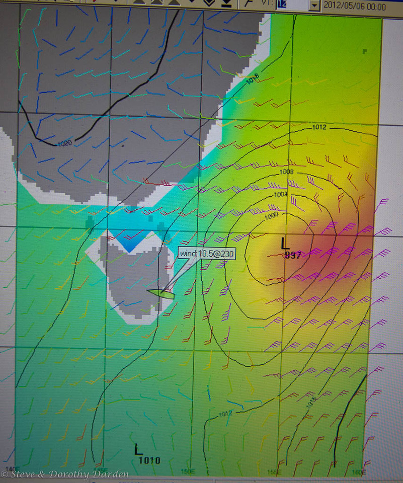 This Grib file displays the  MSLP and wind model for the morning we departed Tasmania.
