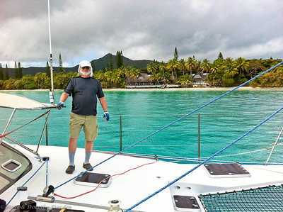 Fred on the foredeck at Isle of Pines