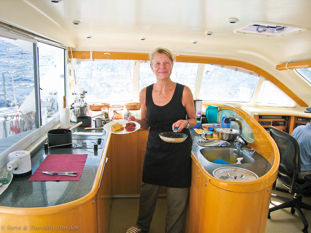 Eva cooked gourmet, in spite of the sea state..