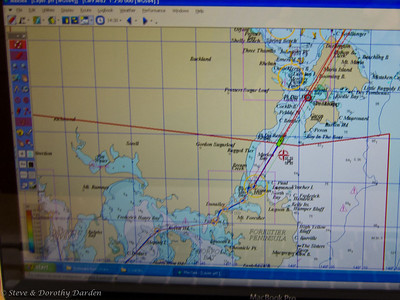 Electronic chart showing our route through Frederick Henry Bay and  Marion Narrows to Maria Island.