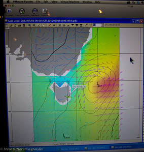 Grib file showing MSLP and wind model for the morning we departed Tasmania