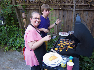 Kim and David grilled the burgers and Portobello mushrooms.
