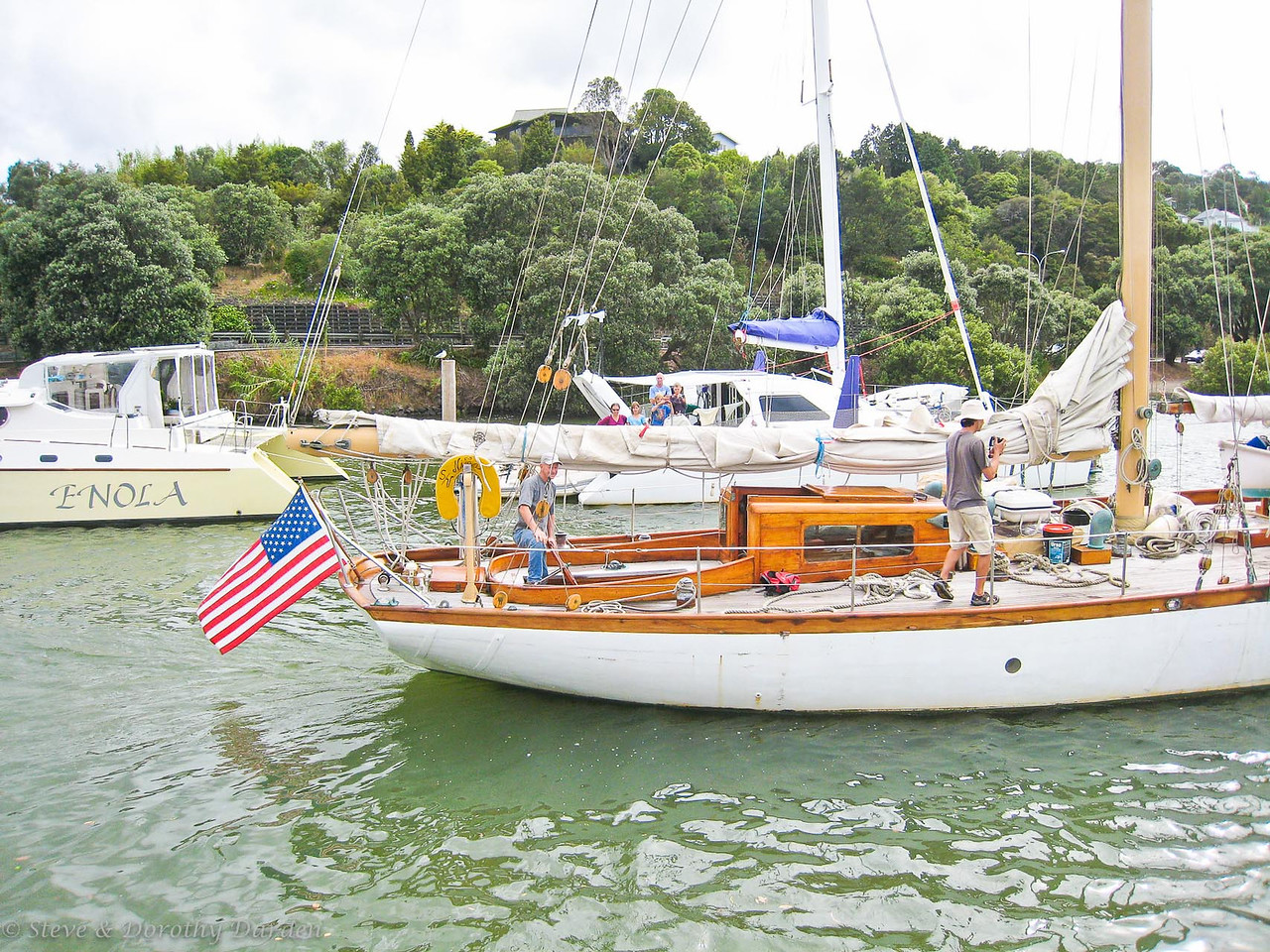 Schooner NINA departing Town Basin marina