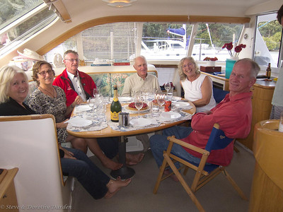 Dorothy's 71st birthday:  Rosemary, Nancy , Frank Moncrief, Commodore, Dorothy and David Dyche