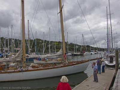 Schooner NINA turning around at Town Basin marina