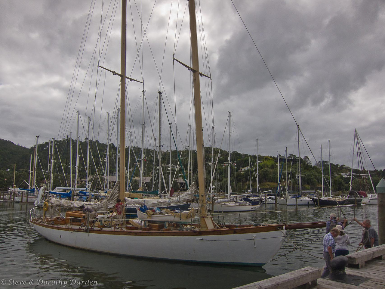 Schooner NINA turning around at Town Basin marina