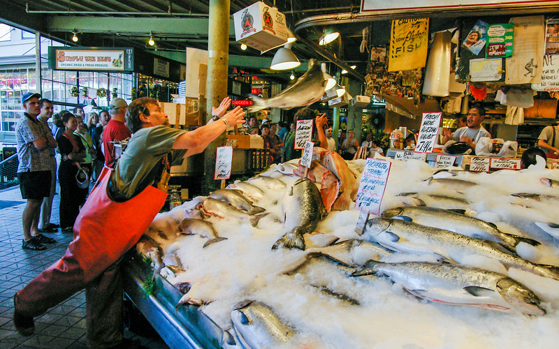 Flying fish in the market