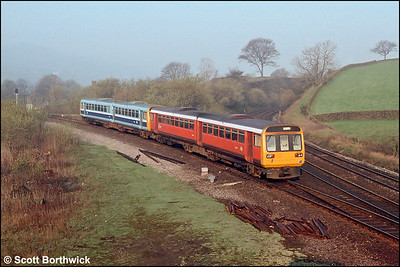 142012+142xxx are turned on the triangle at Chinley on 23/04/1987.