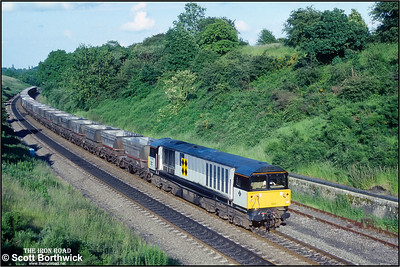 58043 climbs Hatton bank whilst in charge of 6E53 1605 Didcot Power Station-Warsop Colliery on 01/07/1991.