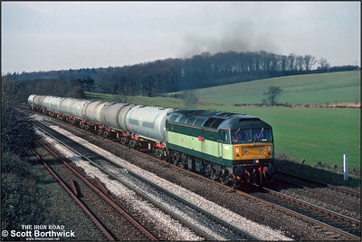 47401 'Star of the East' is working hard as it passes Knabbs Bridge, Melton Ross with 6D96 1150 MFO Welton-Immingham Transit Quay on 06/03/1992.